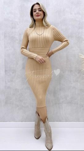 Korse Detay Fitilli Elbise - Bej