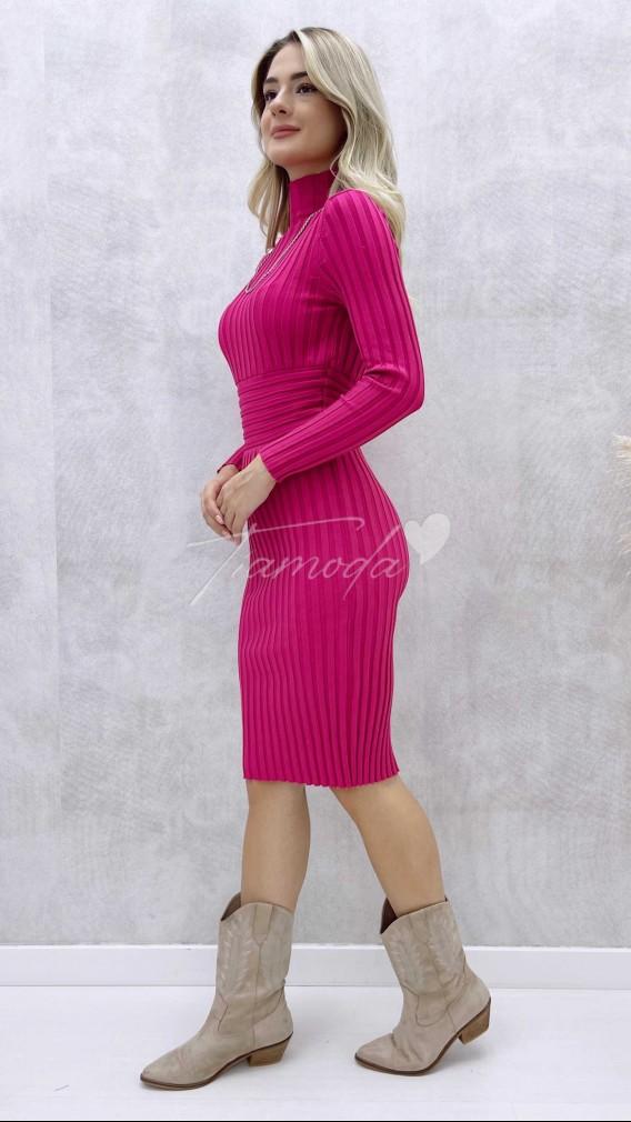 Korse Detay Fitilli Elbise - Fuşya