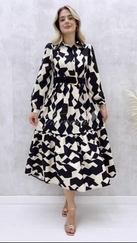 Uzun Kol Poplin Elbise
