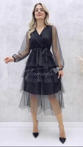 Kat Kat Puantiyeli Elbise - Siyah