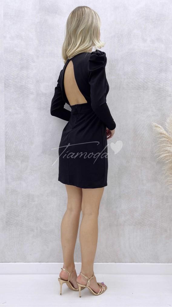 Sırt Detay Mini Elbise - Siyah