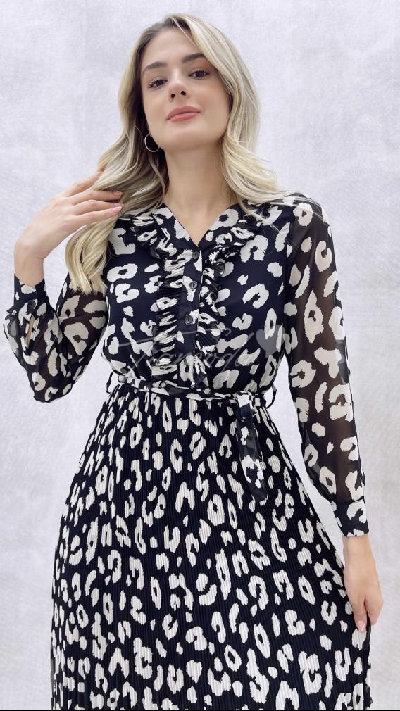 Eteği Pileli Desenli Elbise