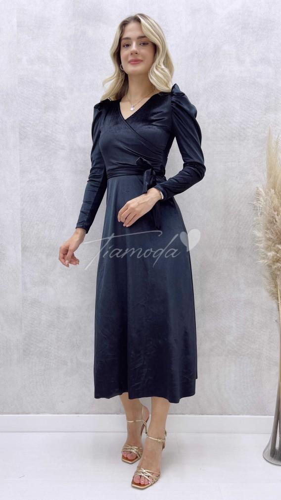 Kruvaze Yaka Kadife Elbise - Siyah