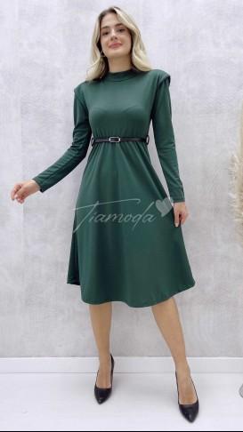 Omuz Vatkalı Kemerli Elbise - Haki