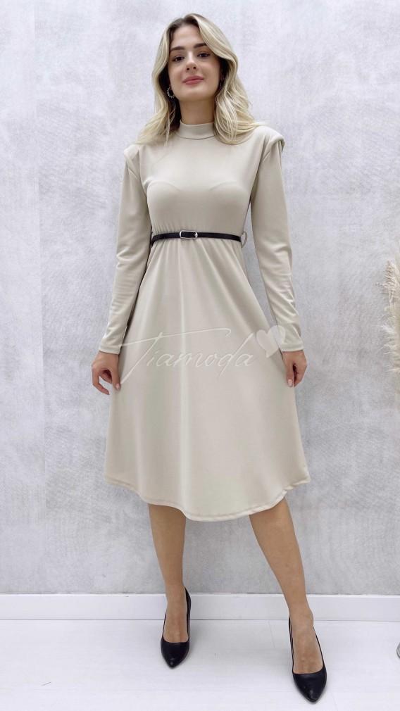 Omuz Vatkalı Kemerli Elbise - Bej