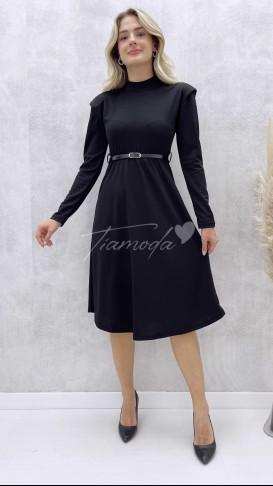Omuz Vatkalı Kemerli Elbise - Siyah