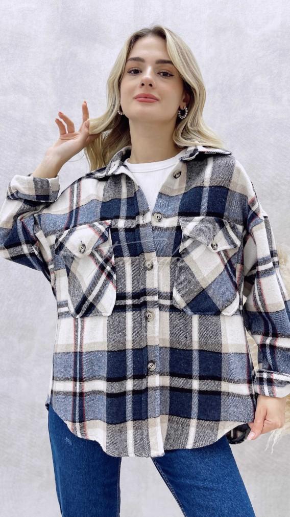 Kareli Oduncu Ceket - Mavi