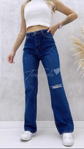 Diz Yırtık Straight Jean