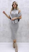 Kalem Elbise Kazak Takım - Gri