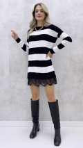 Siyah Beyaz Eteği Dantel Elbise