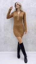 Fermuarlı Saç Örgü Elbise - Taba