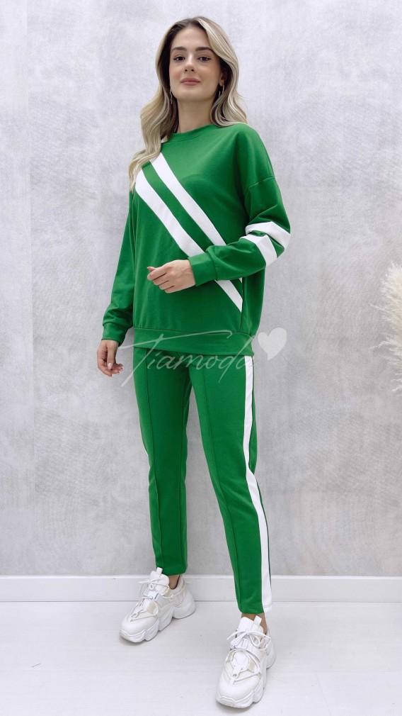Şeritli Eşofman Takımı - Yeşil