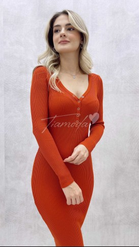 Yaka Çıtçıt Triko Elbise - Oranj