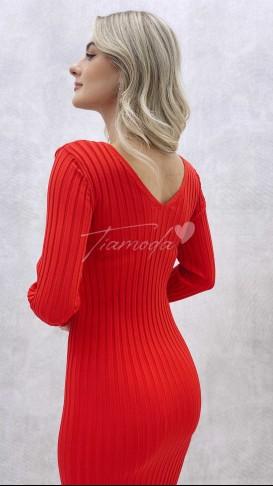 Ön Arka V Fitilli Elbise - Kırmızı