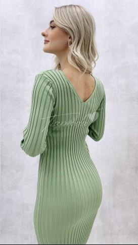 Ön Arka V Fitilli Elbise - Yeşil