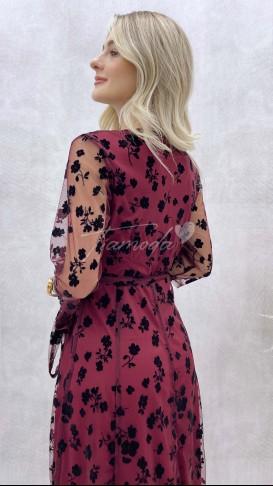 Flok Baskılı Şifon Elbise - Bordo