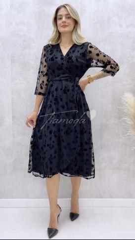 Flok Baskılı Şifon Elbise - Siyah