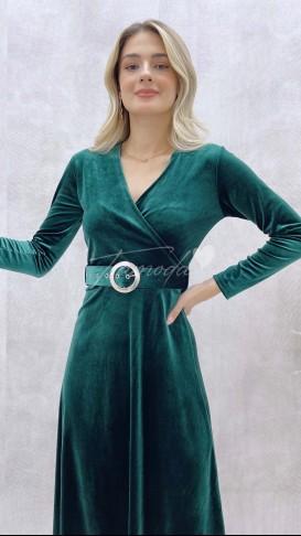 Kemerli Kadife Elbise - Zümrüt Yeşil