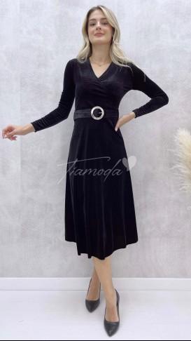Kemerli Kadife Elbise - Siyah