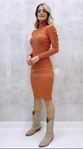 Omuz Detay Balıkçı Elbise - Soğan