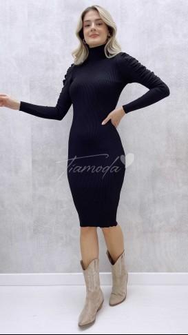 Omuz Detay Balıkçı Elbise - Siyah