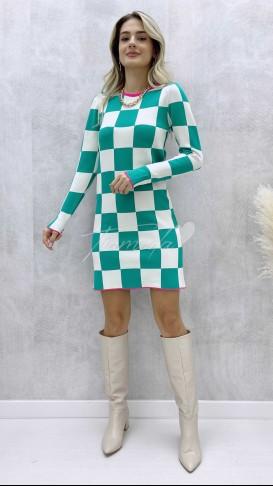 Damalı Mini Elbise - Yeşil