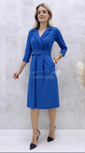 Ceket Yaka Elbise - Mavi