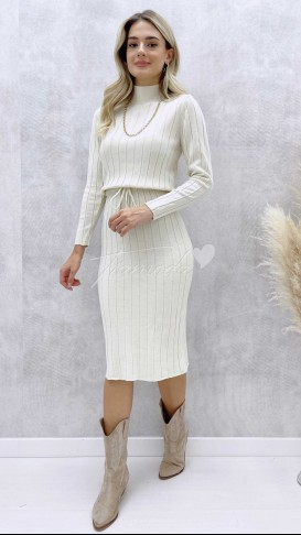 Bel Bağcık Triko Elbise - Krem