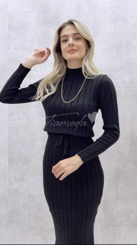 Bel Bağcık Triko Elbise - Siyah