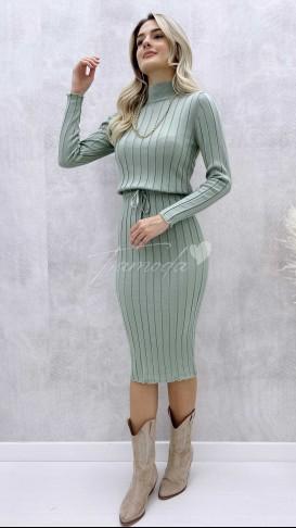 Bel Bağcık Triko Elbise - Mint