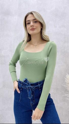 Yeşil Kare Yaka Triko Bluz