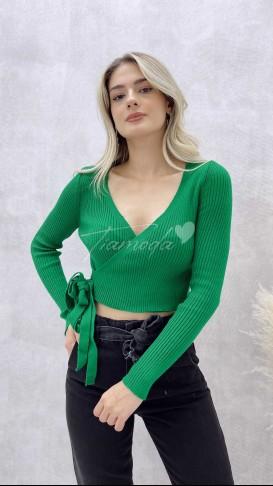 Beli Kuşaklı Kruvaze Triko - Yeşil