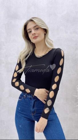 Kol Detay Triko Bluz - Siyah