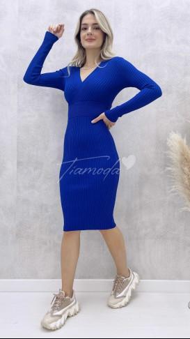 Çapraz Yaka Elbise - Lacivert