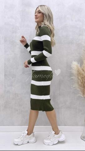Çizgili Triko Elbise - Haki