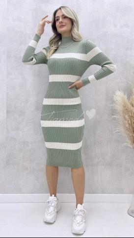 Çizgili Triko Elbise - Su Yeşili
