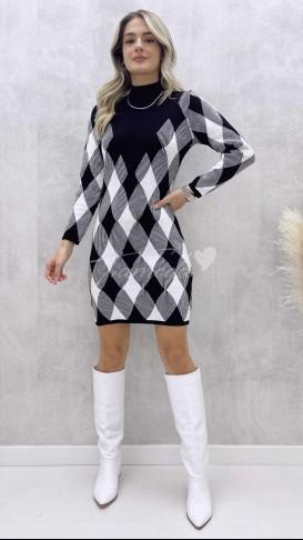 Baklava Desen Elbise - Siyah
