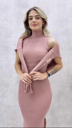 Kalem Elbise Kazak Takım - Pudra