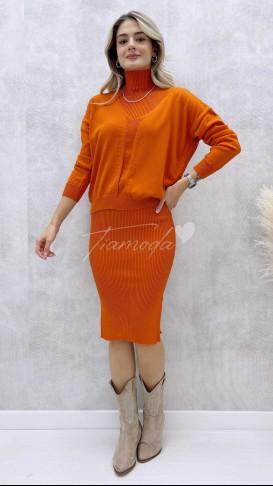 Kalem Elbise Kazak Takım - Oranj