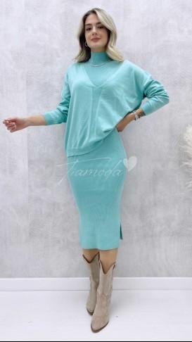 Kalem Elbise Kazak Takım - Mint