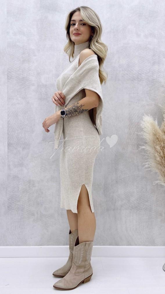 Kalem Elbise Kazak Takım - Bej