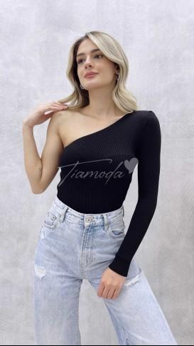 Tek Omuz Triko Bluz - Siyah