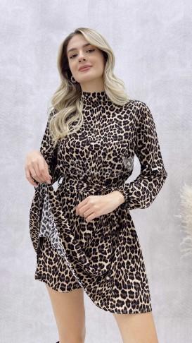 Leopar Desen Şortlu Elbise