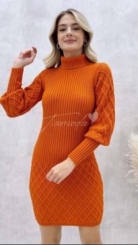 Balıkçı Yaka Örme Elbise - Oranj
