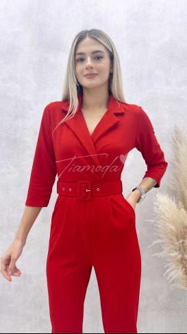 Ceket Yaka Fakir Kol Tulum - Kırmızı