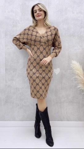 Yarasa Kol Desenli Elbise - Camel