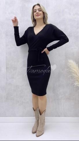 Yarasa Kol Triko Elbise - Siyah