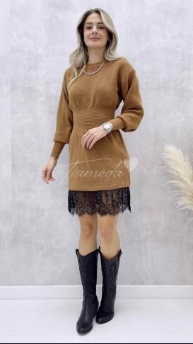Eteği Dantel Beli Gipeli Elbise - Camel