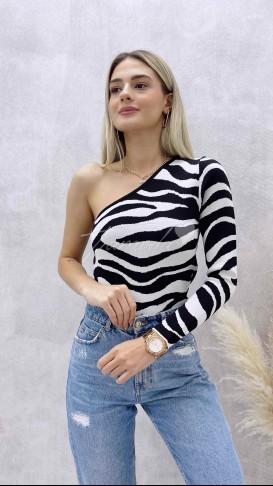 Zebra Desen Tek Omuz Bluz