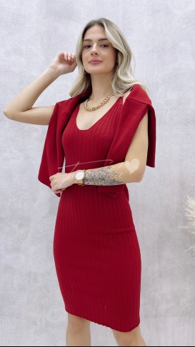 Elbise Kazak Takım - Bordo